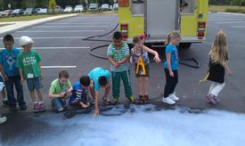 Students with foam (Letter land day @ Murray)