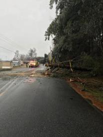 Remember to use caution when driving durning and after winter weather. Crews were only able to remove part of the tree due to the size and location of the tree down. DOT was called to remove the rest and for clean up.